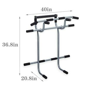 Adjustable Chin Up Stand Pull Up Bar Dip Power Tower Home Gym Fitness Workout