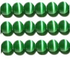 "Cats Eye Beads 8mm Green Strand Grade ""A"" Fiber optic 50 Beads per strand"