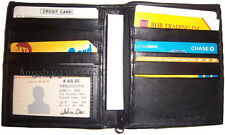 Men's wallet. Leather Hipster wallet USA Euro Int'l currencies zip coin purse BN