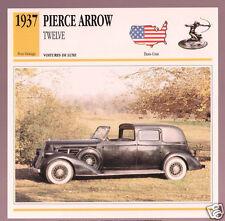1937 Pierce-Arrow Twelve (12) Car Photo Spec Sheet Info Stat French Atlas Card