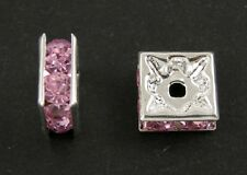 20 x 6MM SQUARE RHINESTONE PINK SPACER BEADS - PINK CRYSTAL - SB19