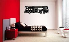 FIRE TRUCK FIREMAN VINYL WALL STICKER LETTERING DECAL HOME DECOR KIDS BOYS