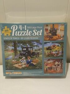 Bits And Pieces 4 In 1 Set - 300 Pieces Each Jigsaw Puzzle Sets - Simpler Times