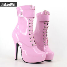 Womens Ladies Patent Leather Lace Up Punk Cosplay Platform Ankle Boots US 5-12