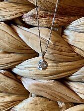 "14k White Gold Diamond Pendant With 16.5"" 14k White Gold Chain"