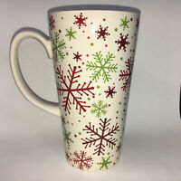 "Snowflake Red Green Ceramic Mug 6"" Tall Latte Christmas Coffee Mug"
