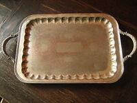 prächtig verziertes großes edles Silbertablett Tablett mit Griffen silber pl