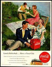 1949 COCA-COLA Soda - Couples - Picnic - Cooler - Retro - Lake VINTAGE AD