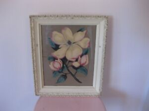 Vintage Gesso Wood Framed Picture Print Of Dogwoods Floral