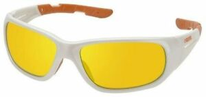 Elvex RSG100 Series Safety Glasses with White Frame and Sky Orange Mirror Lens