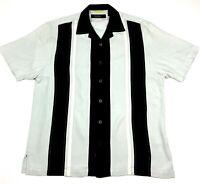 Nat Nast Luxury Originals Silk Bowling Camp Shirt Size M Black Light Blue EUC