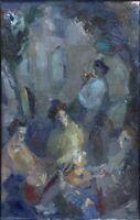 """Russischer Realist Expressionist Öl Leinwand """"Drei Frauen"""" 56x35 cm"""