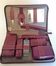 Vintage Men's Vanity Shaving Kit Travel Toiletry Case Brown Leather