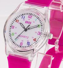 Kinderuhr Qbos Lernuhr Mädchenuhr Armband pink Gehäuse transparent für Mädchen