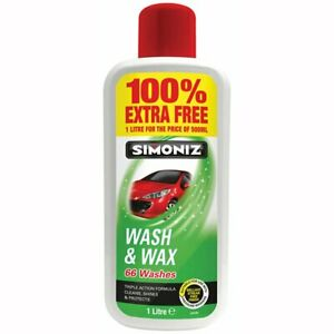 Simoniz Wash And Wax Car Motorcycle Van 66 Washes - 500ml + 500ml Free UK SELLER