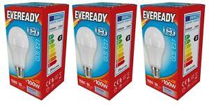 "x 3 Eveready 14w (=100w) LED Opal GLS Bulb €"" Edison Screw (ES) Daylight White"