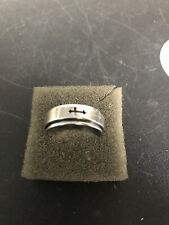 Men's Stainless Steel Ring with Cross Spinner   Size 10