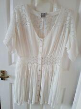 Asos Size 10 petite Cream Crinkle Crease Summer Dress