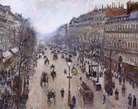 Boulevard Montmartre, Morning Cloudy Painting by Camille Pissarro Reproduction