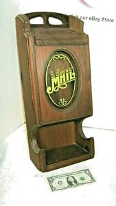 Old Vintage Wooden Mail Letter Box - Glass Front Etching Mail Box