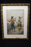 Beautifully Rendered 19th Century European Watercolor of Two Italain Youth