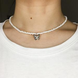 Necklace Choker White Beads Silver Butterfly Elegant Summer Beach Gift Bag UK