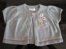 Mamas and Papas bolero cardigan sage green with embroidery - worn once -6-9mths