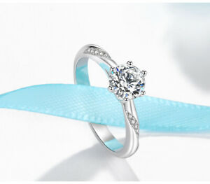 925 Sterling Silver 1 Ct AAA Zircon Solitaire Wedding Promise Engagement Ring