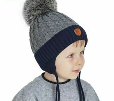 Pompom Hat Knitted Ear Warm Beanies For Boys Cotton Patchwork Pattern Bonnet New