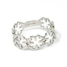 SOLID 18K WHITE GOLD RING, FOUR LEAF QUATREFOIL ROW, SMOOTH, MADE IN ITALY