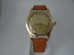 Omega Seamaster Honeycomb Dial Jumbo Gold & Steel Automatic Bumper Vintage 1950s