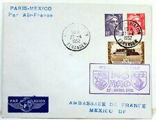 1952 PARIS MEXICO PAR AIR FRANCE COVER Premier vol AC91