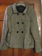 Banana Republic Tweed Wool Blend Ladies Winter Peacoat SZ 12 Black & White EUC
