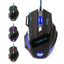 7 Taste Gaming Maus USB LED PC Computer Laptop Mouse 7200 DPI für Pro Gamer