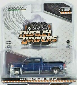 1:64 GreenLight 2019 Ford F-350 Lariat Dually Driver 6 Blue Jeans Truck