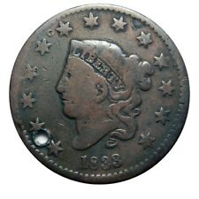 Large cent/penny 1833 nice mid grade holed