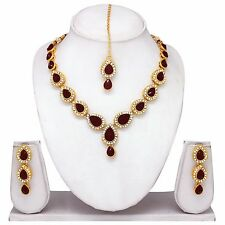Indian Bollywood Wedding Gold Plated Necklace Earrings Party Jewelry Ethnic Set