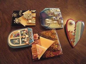 Great Group of Colorful LUCINDA Pins - 5 Hand Made House Pins w/ Labels