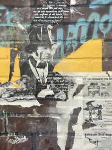 ANDREW COTTON BRICK WALL ACRYLIC MIXED MEDIA ON BOARD ORIGINAL PAINTING 24x24