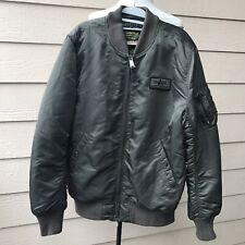 Alpha Industries Olive Green Shiny Bomber Jacket Men's Army Sz L
