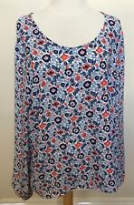 LAURA ASHLEY Blue Red White Floral Print Long Sleeve Scoop Neck Blouse Top 18