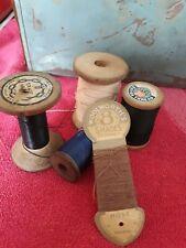 Vintage Wooden  Textile Bobbin Spools  Cotton Reels   Scout   Chain Trade Mark