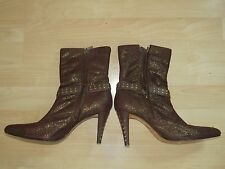 Women's Stiletto Boots Studded Pattern Brown, SZ 8-1/2M,Leather Soles