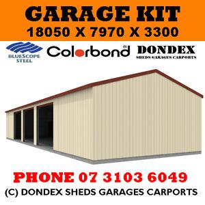 DONDEX SHEDS Garage Shed Kit 18x8x3.3 Colorbond Roof, Walls & Doors Trim