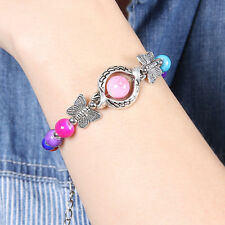 HOT Tibet silver butterfly beads multicolor jade turquoise bead bracelet S100