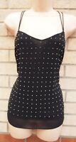 NEW LOOK STRAPPY BLACK BEADED STUDS STUDDED TUNIC CAMI VEST BLOUSE TOP 8 S