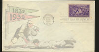 #855 1939 Baseball FDC Rare Multicolor Planty 855-96 Cachet Pencil Erased