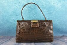 Vintage 1950s Large Genuine Crocodile Alligator Skin Leather Lined Handbag Bag