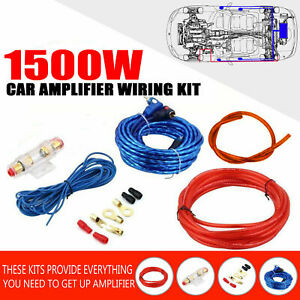 8Gauge Audio Amp Kit Amplifier Install Wiring Complete Installation Cables 1500W