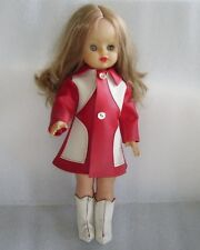 Vintage 43 Cm Plastic And Rubber Doll In Original Costume, 1970s
